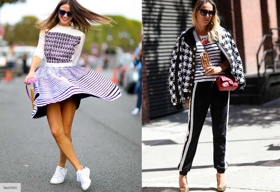 Streetstyle Fashionchick gestreept