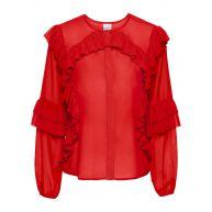 Dames blouse lange mouw in rood - BODYFLIRT