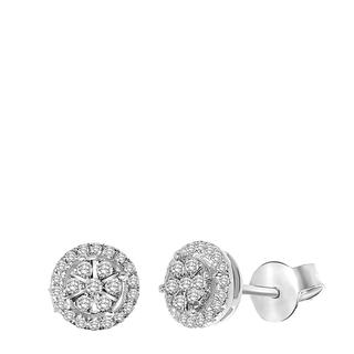 14 Karaat witgouden oorbellen entourage diamant