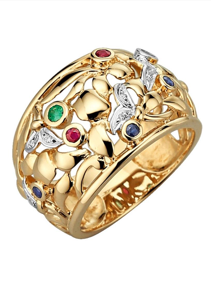 Diemer Highlights Damesring Van 14 Kt. Diemer Eventi Signore Ring 14 Kt. Goud Multicolor Multicolore Oro RlMqbtg3A