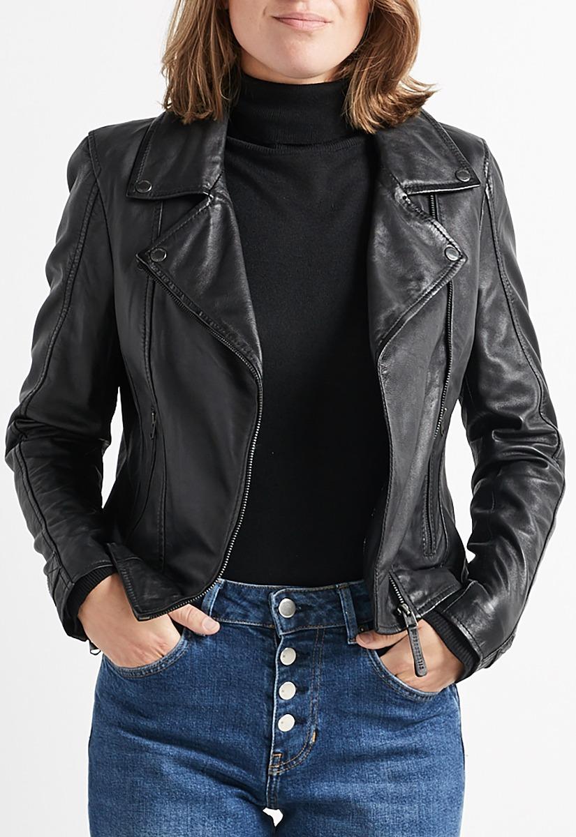 Short Punk Rivet Leather Jacket Koop Goedkope Short Punk