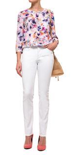 Slim in white coloured denim