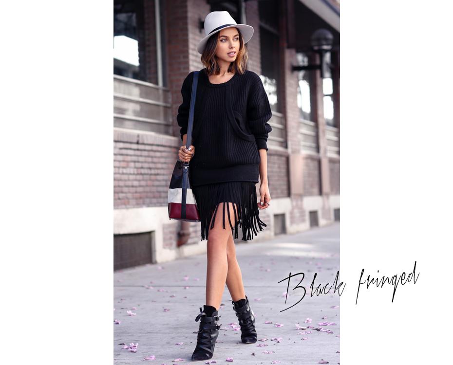 Black fringed
