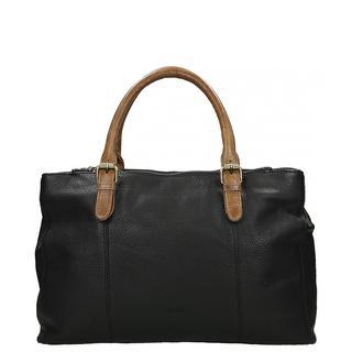 Leather handtas black cognac