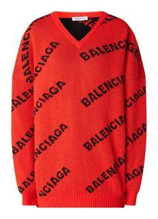 Oversized pullover met ingebreid logodessin