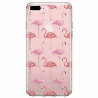 iPhone 7 Plus transparant hoesje - Flamingo