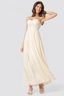 Lace Part Tulle Maxi Dress
