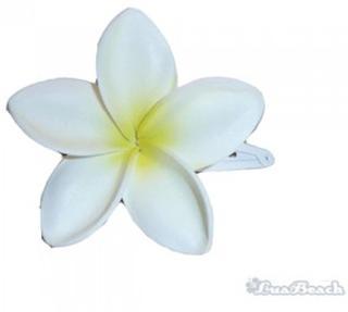 Hawai bloemen haarspeld wit/geel