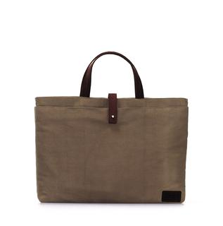 LOUIS LAPTOP CARRIER - Olive Waxed Canvas / ECO DARK BROWN