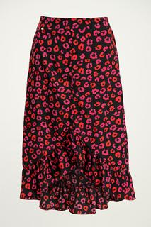 Midi rok rood/roze bloemen