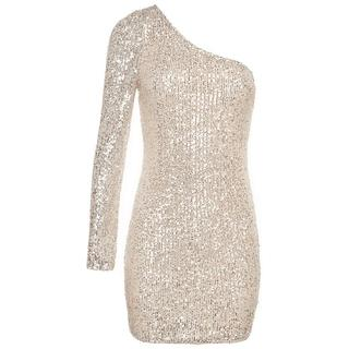 ONE SHOULDER SEQUIN DRESS BEIGE