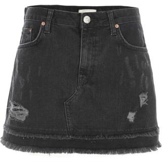 Zwarte distressed denim minirok