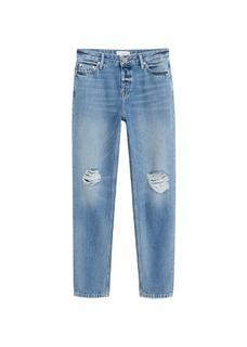 Relax jeans met scheuren