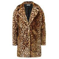 Faux Fur Leopard Coat - Beige/Brown