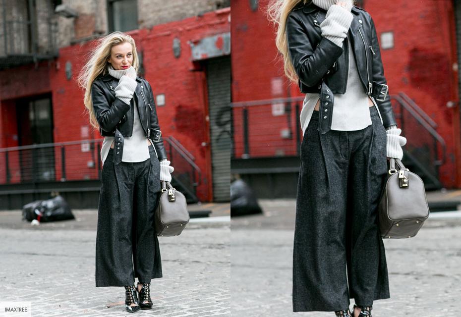 Zwarte leren jasjes look