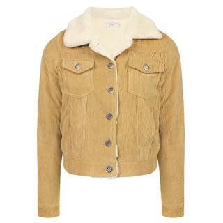 Beige Corduroy Faux Fur Jacket