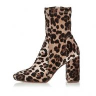 Bruine laarzen met blokhak, luipaardprint en brede pasvorm