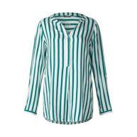 Lange blouse met strepen - teal green