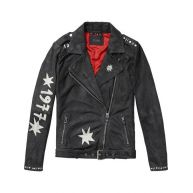 Scotch & Soda Painted Leather Biker Jacket