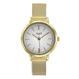 mesh horloge met goudkleurige band