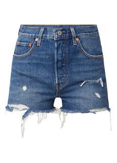501 high rise shorts van denim met ripped details