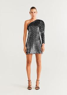 Asymmetrische jurk met pailletten
