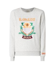 Crewneck sweater met opdruk en borduring
