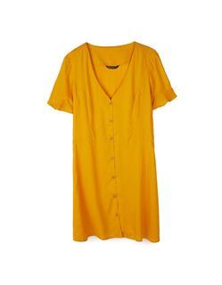 Korte jurk met stoffen knopen