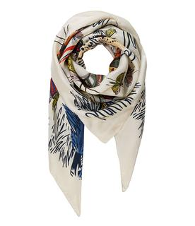 Sjaals Shawl Silk Carre XL Animals Beige