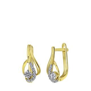 14 Karaat geelgouden oorbellen swirl met diamant