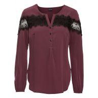 Dames blouse lange mouw in paars - BODYFLIRT