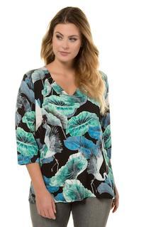 Shirt, classic, kraanvogeldessin, 3/4 mouwen, zijsplitten - Grote Maten