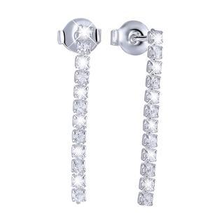 Zilveren oorbellen hang met zirkonia