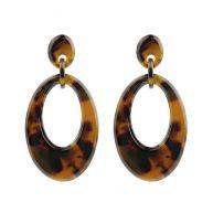 Oval Earrings - Brown/Black