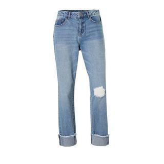 mom jeans met slijtage details (dames)