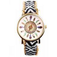 Boho Feather Black White Horloge  Zwart/Wit + Veren  Fashion Favorite  Gevlochten Bandje