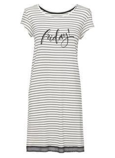 Dames Nachthemd Viscose Zwart/wit (zwart/wit)
