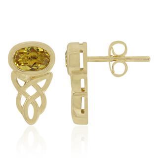 Gouden oorbellen met heliodoren