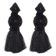 Triangle tassel earrings - Black