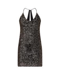 Sequin mini-jurk met spaghettibandjes en pailletten