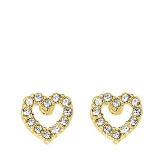 Goudkleurige byoux oorbellen met hart en strass