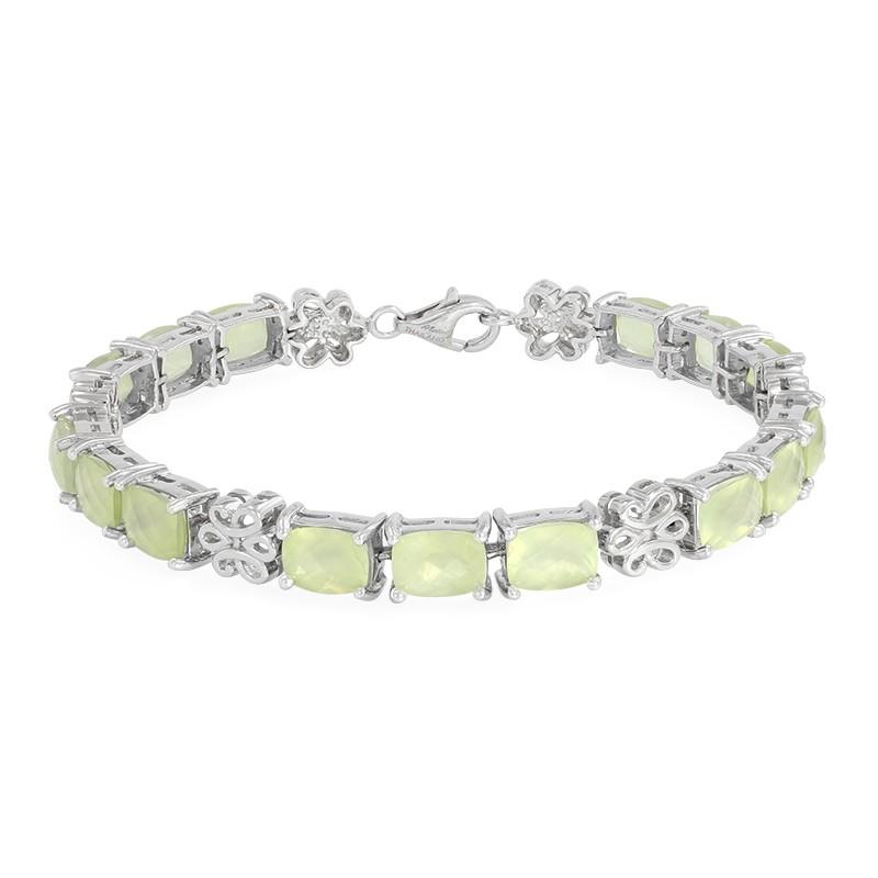 Gloednieuwe Unisex Juwelo Zilveren armband met prehnieten (Molloy) Boodschappen Doen vnWAlaBCv0