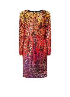 Midi-jurk met kleurrijk animaldessin en strikceintuur
