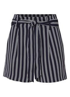 High rise shorts met streepdessin en strikceintuur
