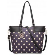 MISS LULU POLKA DOT TOTE BAG (LT1653 PE)