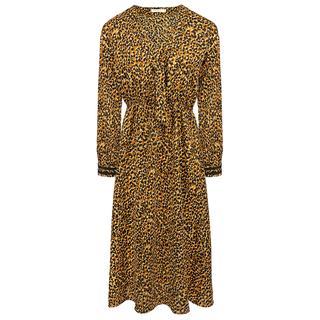 1e5ff000807b63 Bruine midi jurk luipaard print
