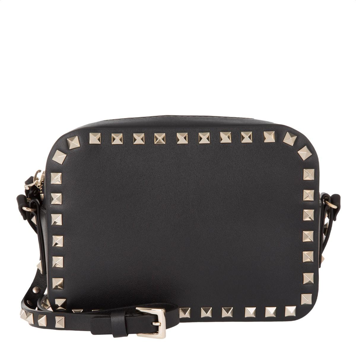 Valentino Skuldervesker - Stein Stud Crossbody Bag Svart Kamera I Svart For Kvinner Billig Online JcxBd5Mm9