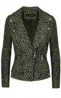 Suede Biker Jacket Cheetah Army