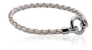 leren armband wit met sluiting 19cm ZIA730W-S