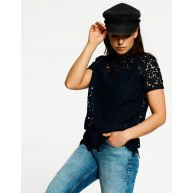 Eksept Lace Top Donkerblauw